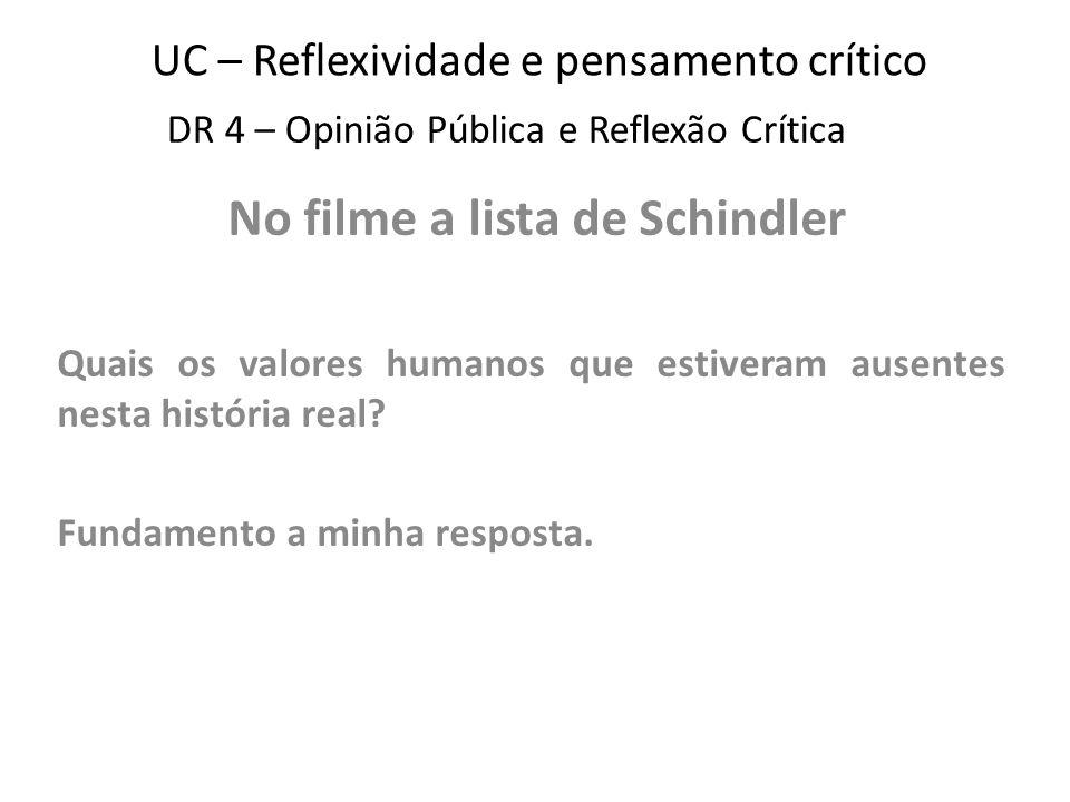 UC – Reflexividade e pensamento crítico No filme a lista de Schindler Quais os valores humanos que estiveram ausentes nesta história real.