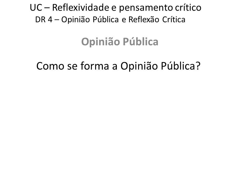 UC – Reflexividade e pensamento crítico Opinião Pública DR 4 – Opinião Pública e Reflexão Crítica Como se forma a Opinião Pública?