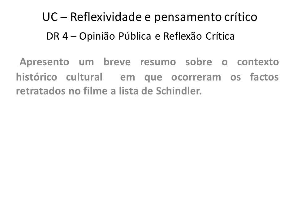 UC – Reflexividade e pensamento crítico Apresento um breve resumo sobre o contexto histórico cultural em que ocorreram os factos retratados no filme a lista de Schindler.