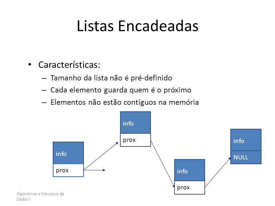 Algoritmos e Estrutura de Dados I Listas Encadeadas Características: – Tamanho da lista não é pré-definido – Cada elemento guarda quem é o próximo – E