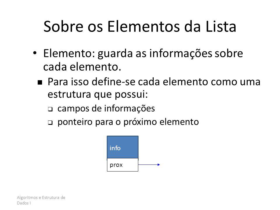 Algoritmos e Estrutura de Dados I Sobre os Elementos da Lista Elemento: guarda as informações sobre cada elemento. Para isso define-se cada elemento c