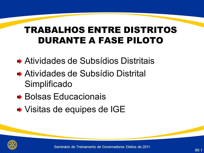 Seminário de Treinamento de Governadores Eleitos de 2011 8B.1 TRABALHOS ENTRE DISTRITOS DURANTE A FASE PILOTO Atividades de Subsídios Distritais Atividades de Subsídio Distrital Simplificado Bolsas Educacionais Visitas de equipes de IGE