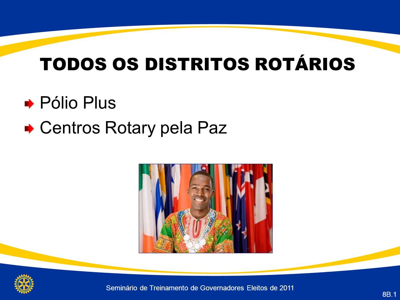 Seminário de Treinamento de Governadores Eleitos de 2011 8B.1 TODOS OS DISTRITOS ROTÁRIOS Pólio Plus Centros Rotary pela Paz