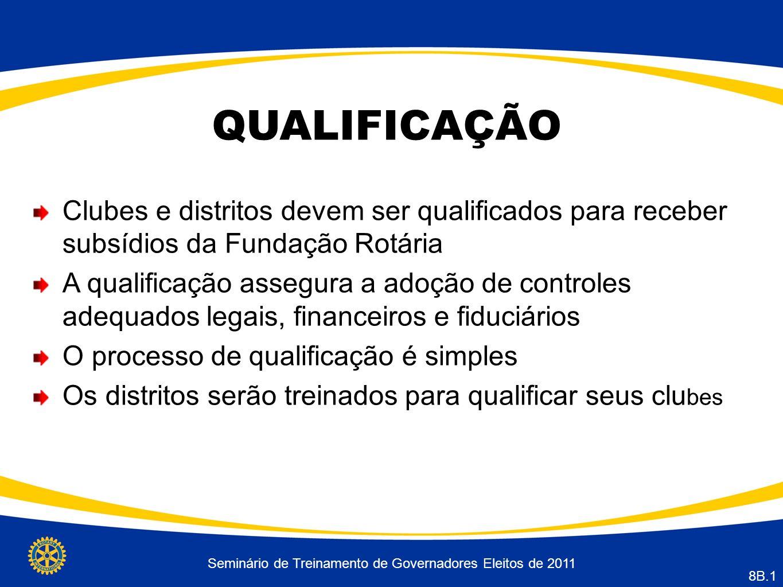 Seminário de Treinamento de Governadores Eleitos de 2011 8B.1 QUALIFICAÇÃO Clubes e distritos devem ser qualificados para receber subsídios da Fundaçã