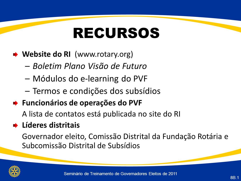 Seminário de Treinamento de Governadores Eleitos de 2011 8B.1 RECURSOS Website do RI (www.rotary.org) –Boletim Plano Visão de Futuro –Módulos do e-lea