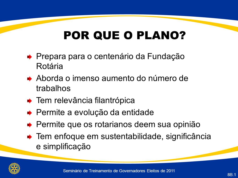 Seminário de Treinamento de Governadores Eleitos de 2011 8B.1 POR QUE O PLANO.