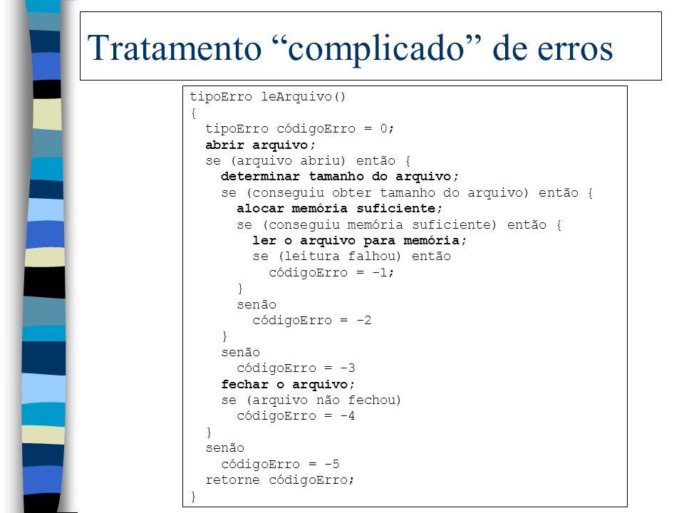 Principal vantagem da manipulação de erros por exceções n Separação do código para manipulação de erros do código normal do programa. Exemplo de algor