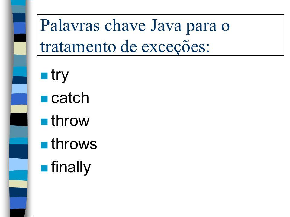 Terminologia das exceções: n Exception: uma condição de erro que ocorre durante runtime n Throwing: lançamento de uma exceção n Catching: capturando u