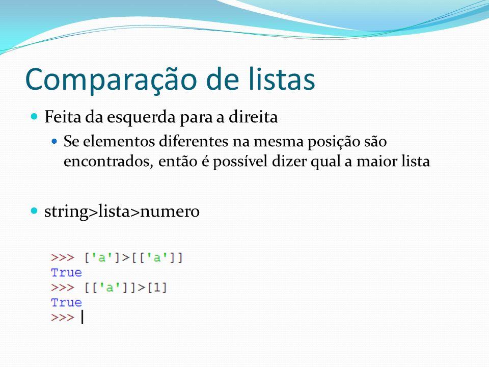 Comparação de listas Feita da esquerda para a direita Se elementos diferentes na mesma posição são encontrados, então é possível dizer qual a maior lista string>lista>numero