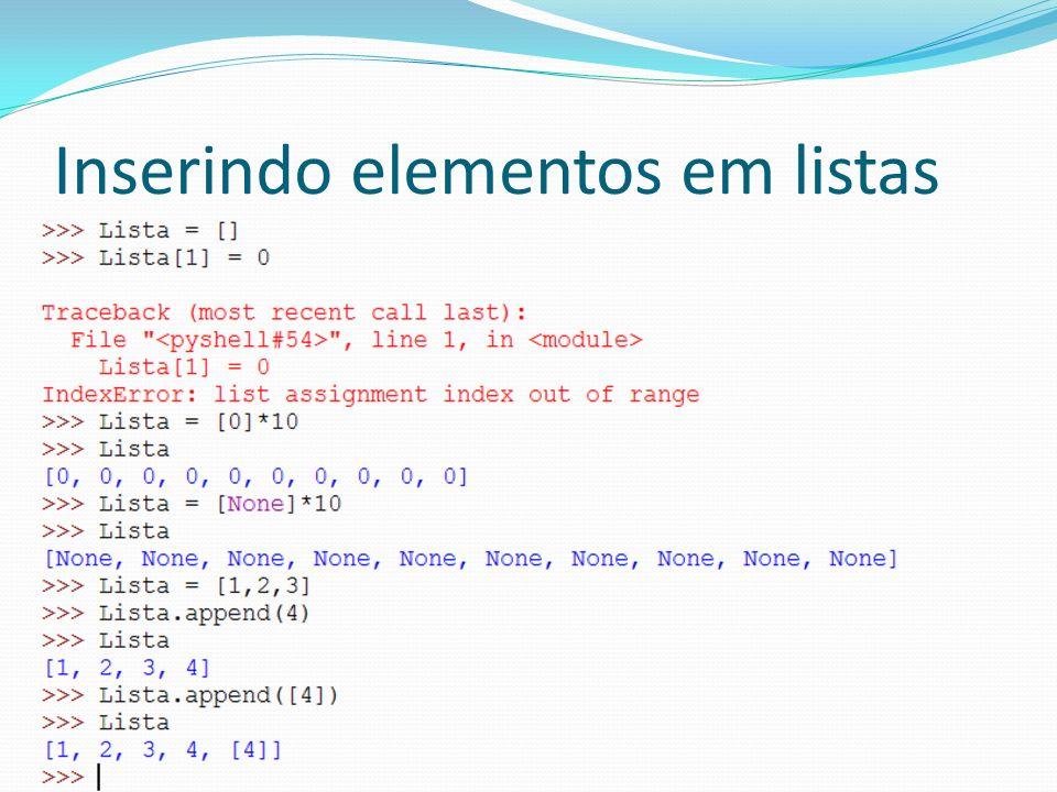 Comando for Permite iterar sobre os elementos de uma lista Formato: for variavel in lista: ações Gera um laço com um número de iterações igual ao tamanho da lista Em cada iteração, o valor de variável recebe um item da lista