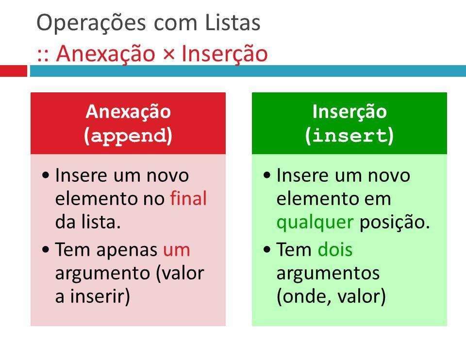 Operações com Listas :: Anexação × Inserção Anexação ( append ) Insere um novo elemento no final da lista. Tem apenas um argumento (valor a inserir) I