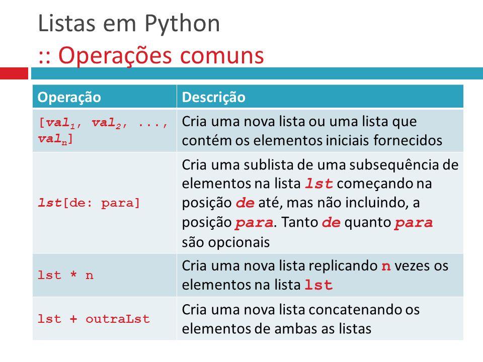 Listas em Python :: Operações comuns OperaçãoDescrição [val 1, val 2,..., val n ] Cria uma nova lista ou uma lista que contém os elementos iniciais fo