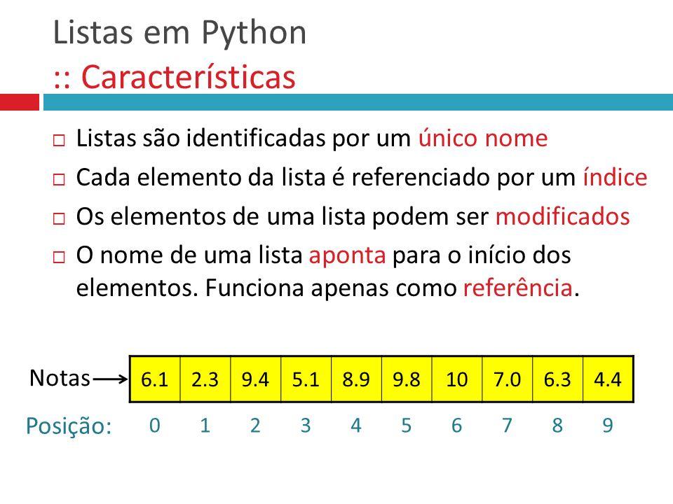 Listas em Python :: Funções comuns FunçãoDescrição len(lst) Retorna o número de elementos na lista lst list(sequencia) Cria uma nova lista contendo todos os elementos da sequência sum(lst) Calcula a soma de valores na lista lst min(lst) max(lst) Retorna o valor mínimo e o máximo na lista lst