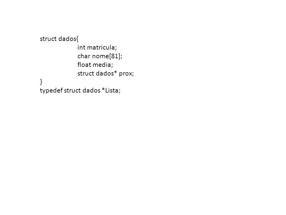 Lista ins_ordenado(Lista L, int mat, char* nome, float nota) { Lista p = L; Lista ant = NULL; Lista novo = (Lista)malloc(sizeof(struct dados); novo ->mat = mat; strcpy(novo->nome, nome); novo->media = nota; novo->prox = NULL; If (p==NULL) return novo; while ((p!=NULL) && (novo->mat > p->mat)) { ant = p; p = p->prox;} if (ant == NULL) {novo->prox = p; return novo;} novo ->prox = ant->prox; ant->prox = novo; return L; }