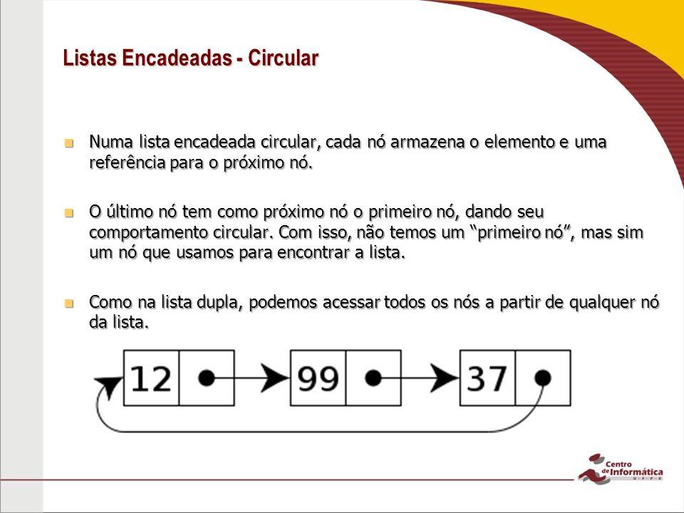 Listas Encadeadas - Circular Numa lista encadeada circular, cada nó armazena o elemento e uma referência para o próximo nó. Numa lista encadeada circu