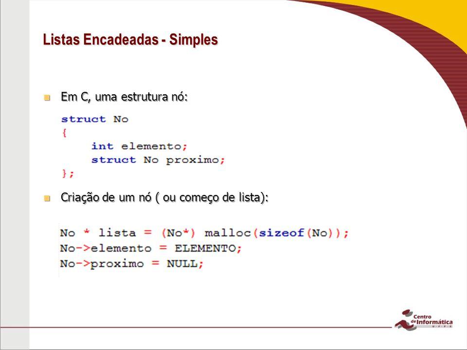 Listas Encadeadas - Simples Em C, uma estrutura nó: Em C, uma estrutura nó: Criação de um nó ( ou começo de lista): Criação de um nó ( ou começo de lista):