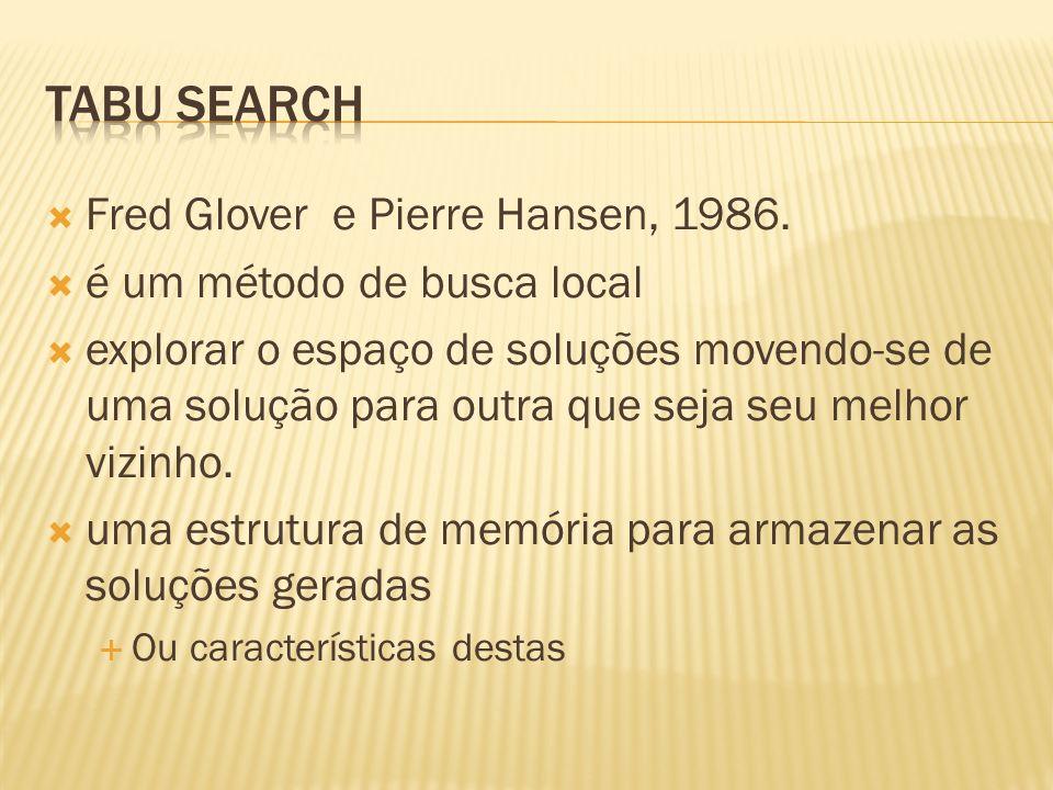 Fred Glover e Pierre Hansen, 1986. é um método de busca local explorar o espaço de soluções movendo-se de uma solução para outra que seja seu melhor v