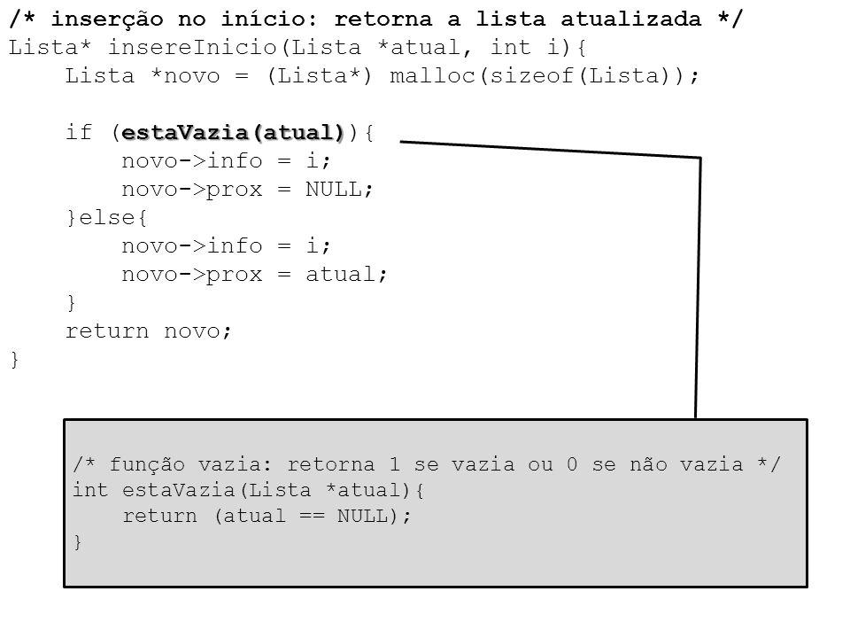 estaVazia(atual) /* inserção no início: retorna a lista atualizada */ Lista* insereInicio(Lista *atual, int i){ Lista *novo = (Lista*) malloc(sizeof(L