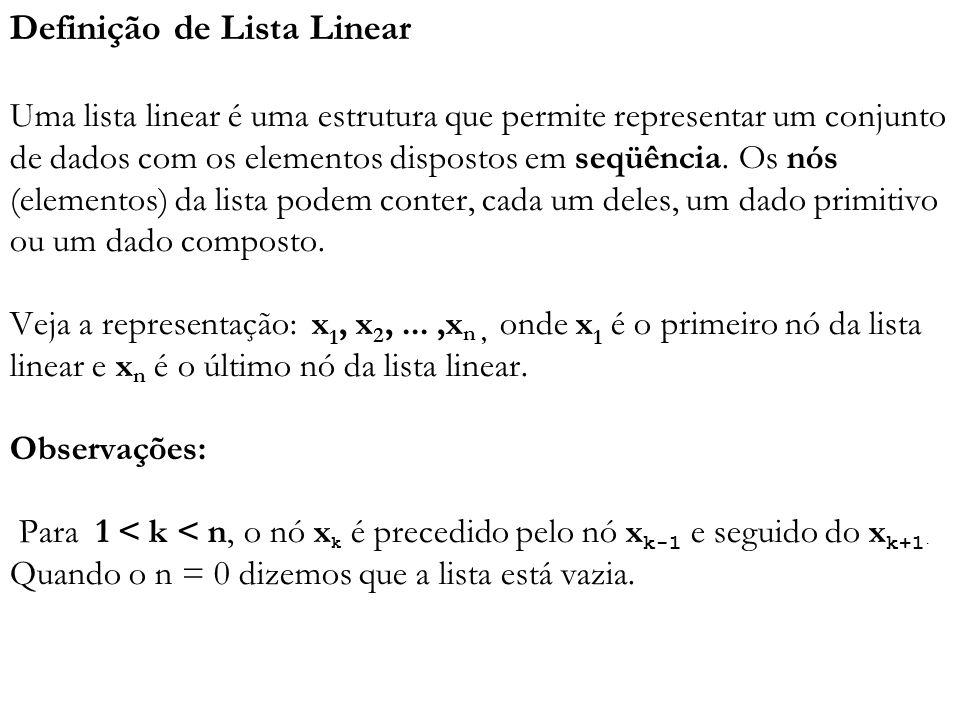 Definição de Lista Linear Uma lista linear é uma estrutura que permite representar um conjunto de dados com os elementos dispostos em seqüência. Os nó