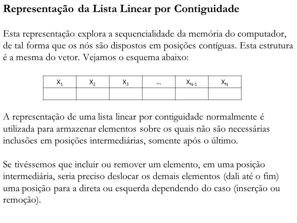 Representação da Lista Linear por Contiguidade Esta representação explora a sequencialidade da memória do computador, de tal forma que os nós são disp