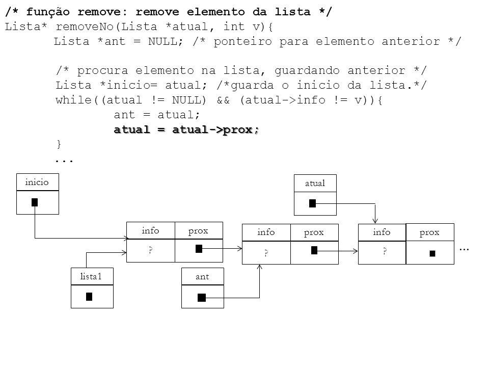 atual = atual->prox; /* função remove: remove elemento da lista */ Lista* removeNo(Lista *atual, int v){ Lista *ant = NULL; /* ponteiro para elemento