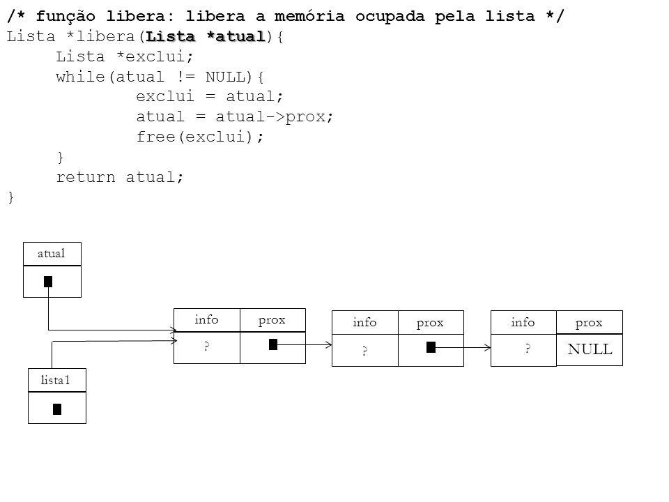 Lista *atual /* função libera: libera a memória ocupada pela lista */ Lista *libera(Lista *atual){ Lista *exclui; while(atual != NULL){ exclui = atual