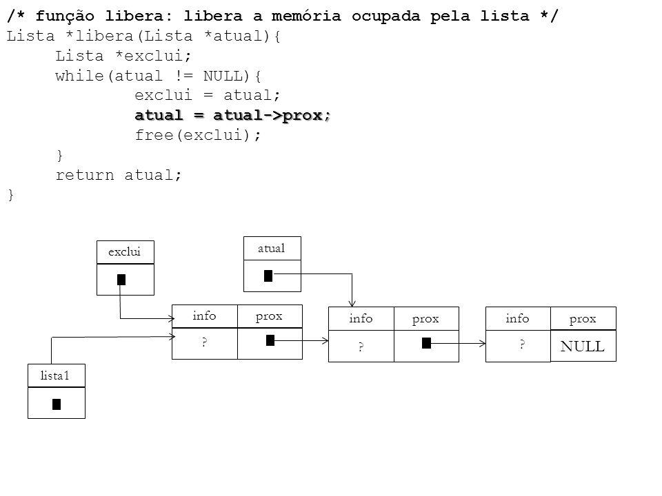 atual = atual->prox; /* função libera: libera a memória ocupada pela lista */ Lista *libera(Lista *atual){ Lista *exclui; while(atual != NULL){ exclui