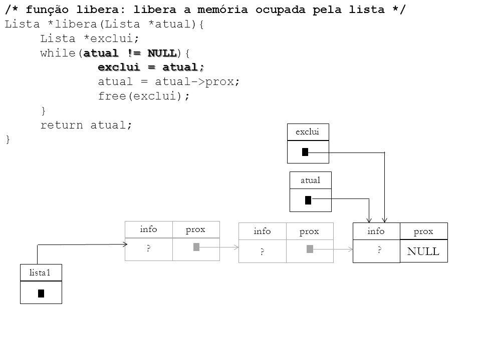atual != NULL exclui = atual; /* função libera: libera a memória ocupada pela lista */ Lista *libera(Lista *atual){ Lista *exclui; while(atual != NULL