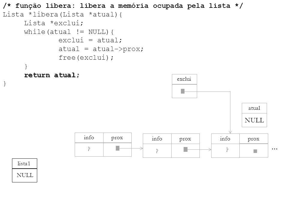 return atual; /* função libera: libera a memória ocupada pela lista */ Lista *libera(Lista *atual){ Lista *exclui; while(atual != NULL){ exclui = atua