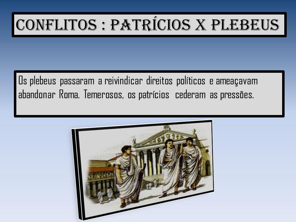 Conquistas dos plebeus Lei das doze tábuas: as leis passaram a ser escritas.