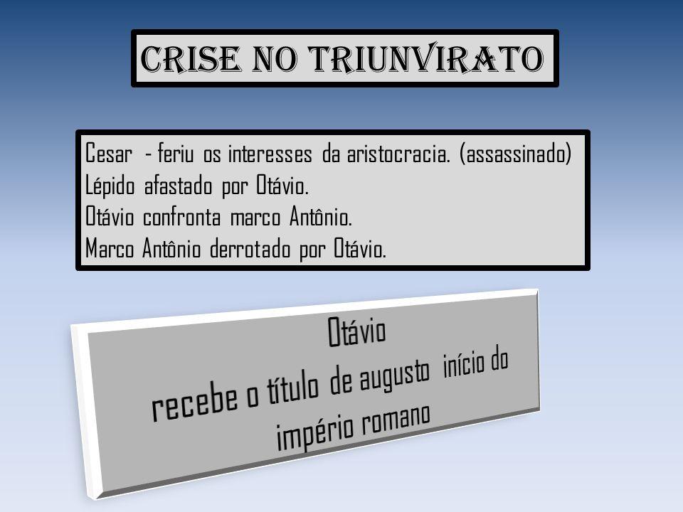 Crise no triunvirato Cesar - feriu os interesses da aristocracia. (assassinado) Lépido afastado por Otávio. Otávio confronta marco Antônio. Marco Antô