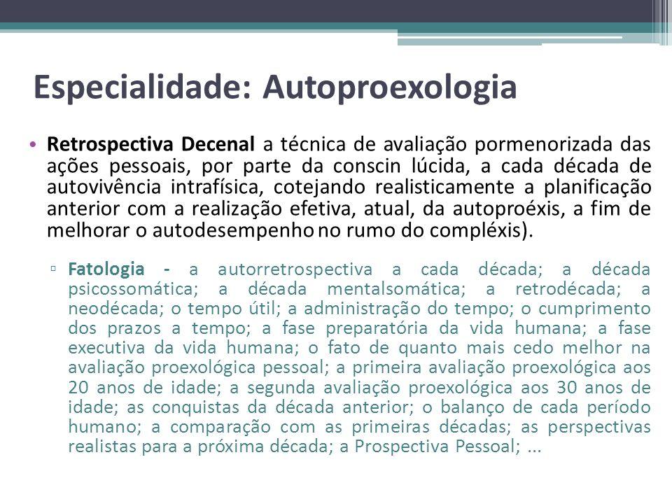 Especialidade: Autoproexologia Retrospectiva Decenal a técnica de avaliação pormenorizada das ações pessoais, por parte da conscin lúcida, a cada déca