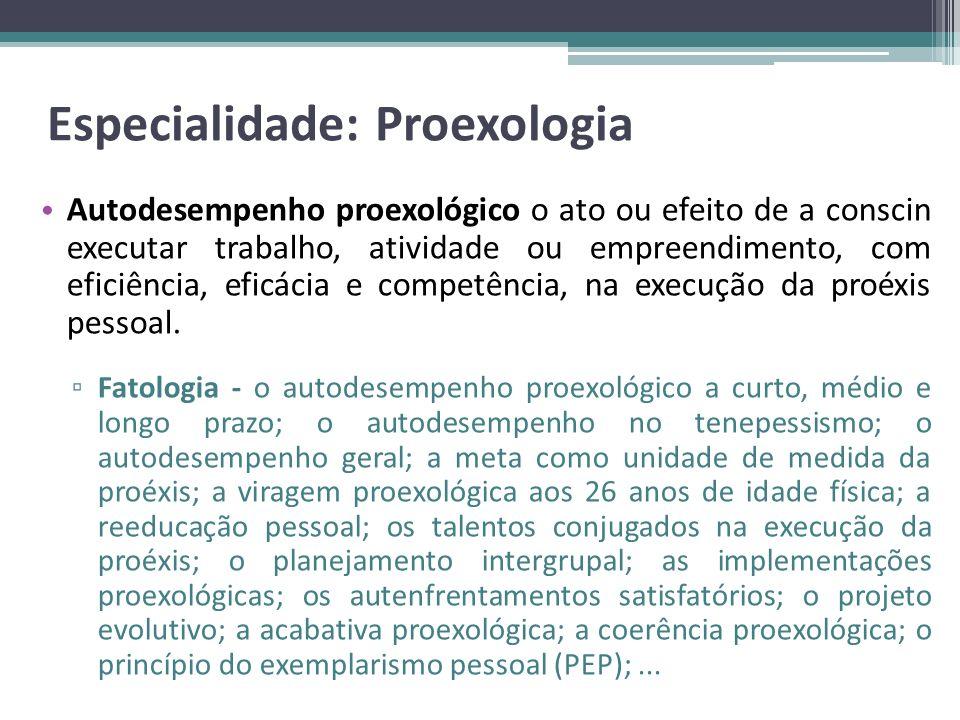 Especialidade: Proexologia Autodesempenho proexológico o ato ou efeito de a conscin executar trabalho, atividade ou empreendimento, com eficiência, ef