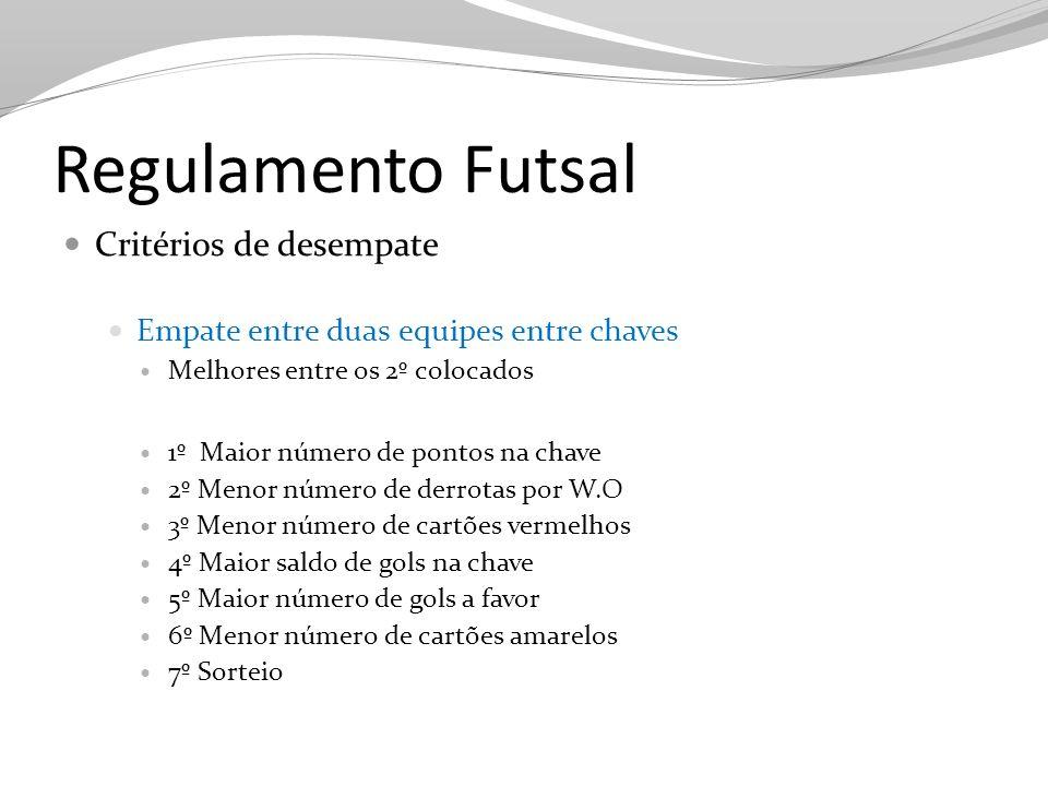Regulamento Futsal Critérios de desempate Empate entre duas equipes entre chaves Melhores entre os 2º colocados 1º Maior número de pontos na chave 2º
