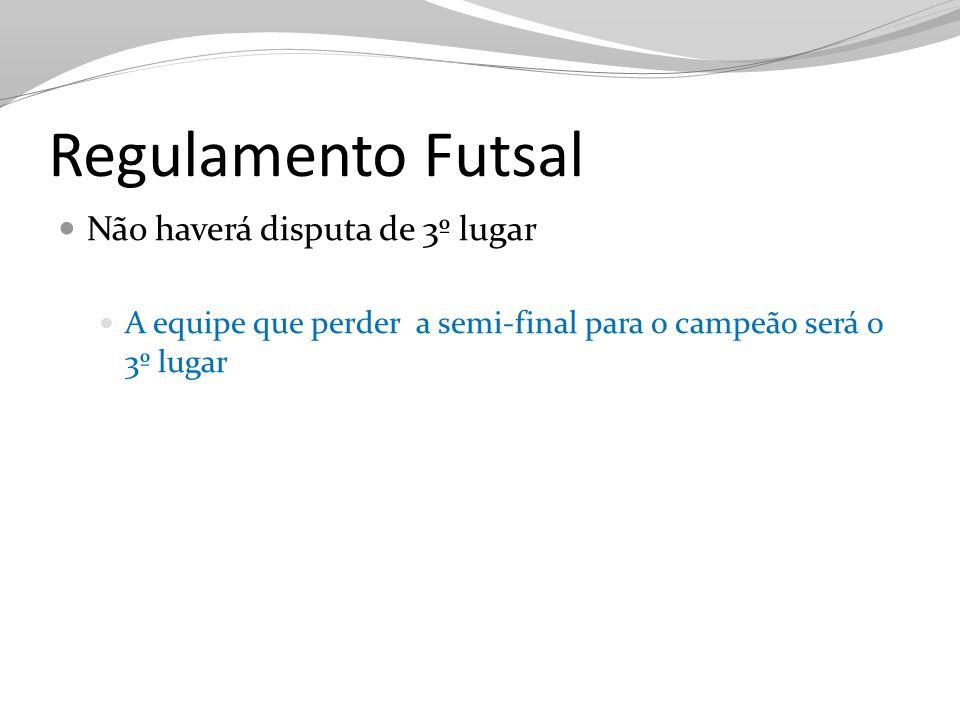 Regulamento Futsal Não haverá disputa de 3º lugar A equipe que perder a semi-final para o campeão será o 3º lugar