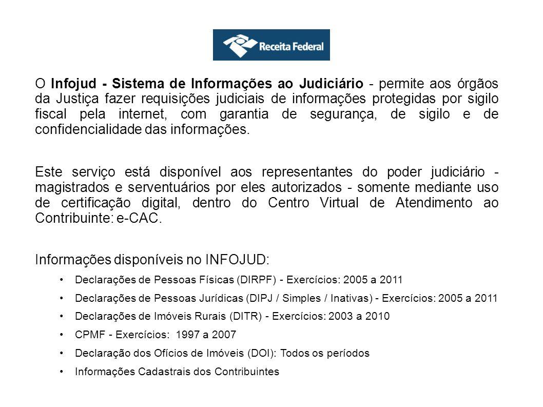 Dúvidas Frequentes 1)Como acessar o Infojud (como obter senha para acesso ao Infojud) O Infojud é acessado através do site da Receita Federal do Brasil (www.receita.fazenda.gov.br), pelo link do e-CAC.