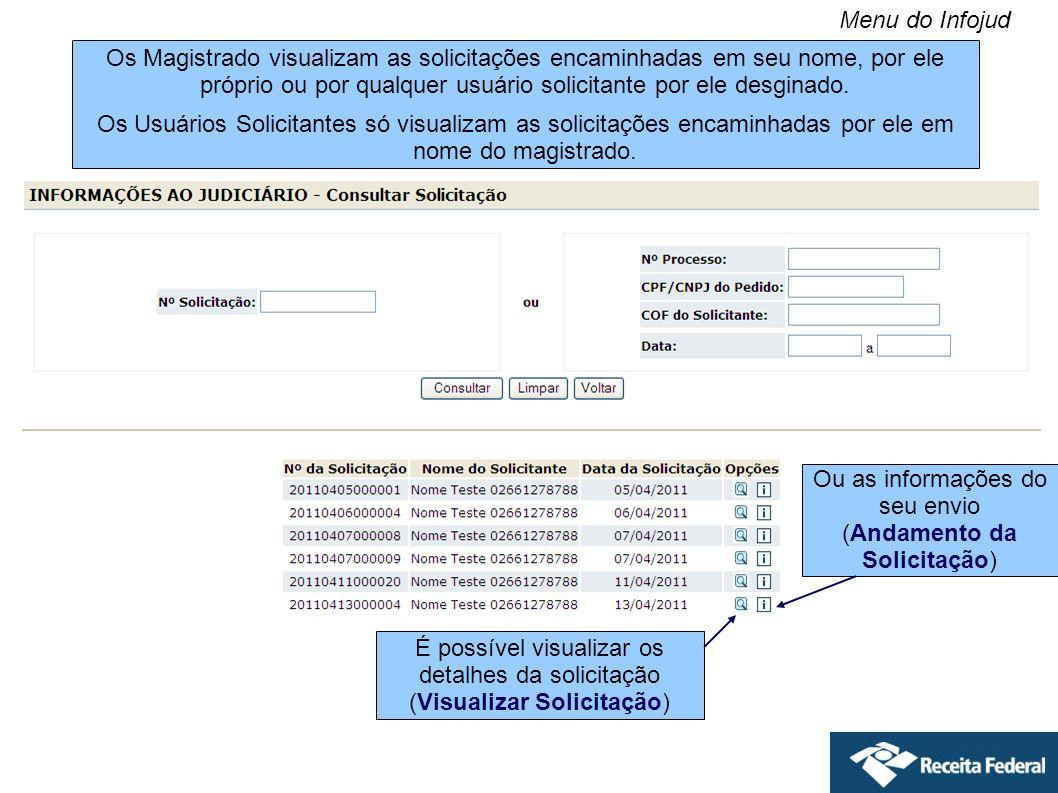 Os Magistrado visualizam as solicitações encaminhadas em seu nome, por ele próprio ou por qualquer usuário solicitante por ele desginado. Os Usuários