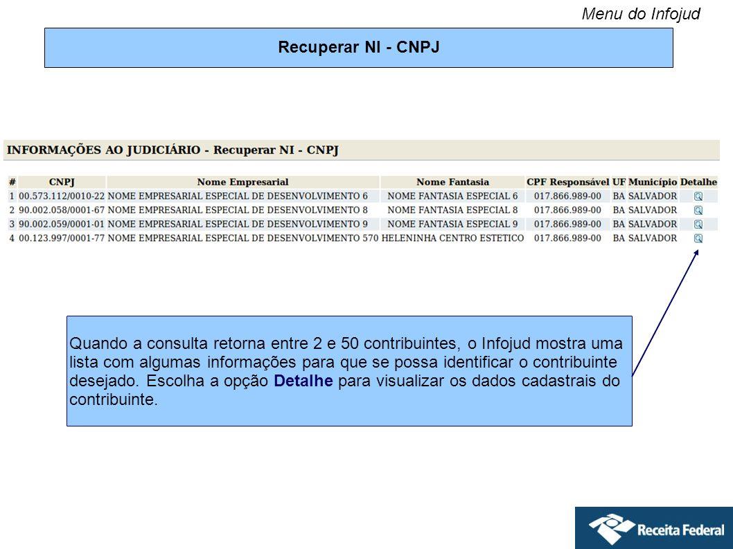 Recuperar NI - CNPJ Quando a consulta retorna entre 2 e 50 contribuintes, o Infojud mostra uma lista com algumas informações para que se possa identif