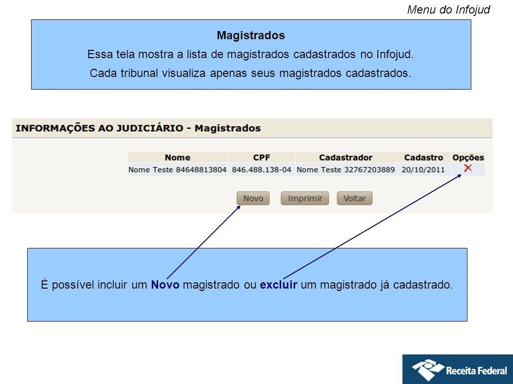 Magistrados Essa tela mostra a lista de magistrados cadastrados no Infojud. Cada tribunal visualiza apenas seus magistrados cadastrados. É possível in