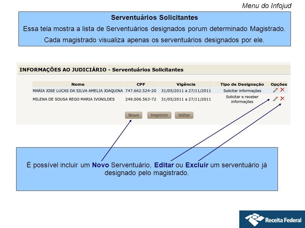Serventuários Solicitantes Essa tela mostra a lista de Serventuários designados porum determinado Magistrado. Cada magistrado visualiza apenas os serv