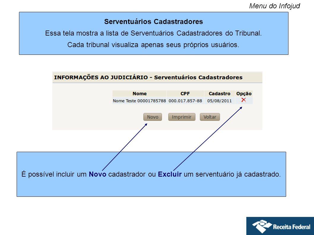 Serventuários Cadastradores Essa tela mostra a lista de Serventuários Cadastradores do Tribunal. Cada tribunal visualiza apenas seus próprios usuários