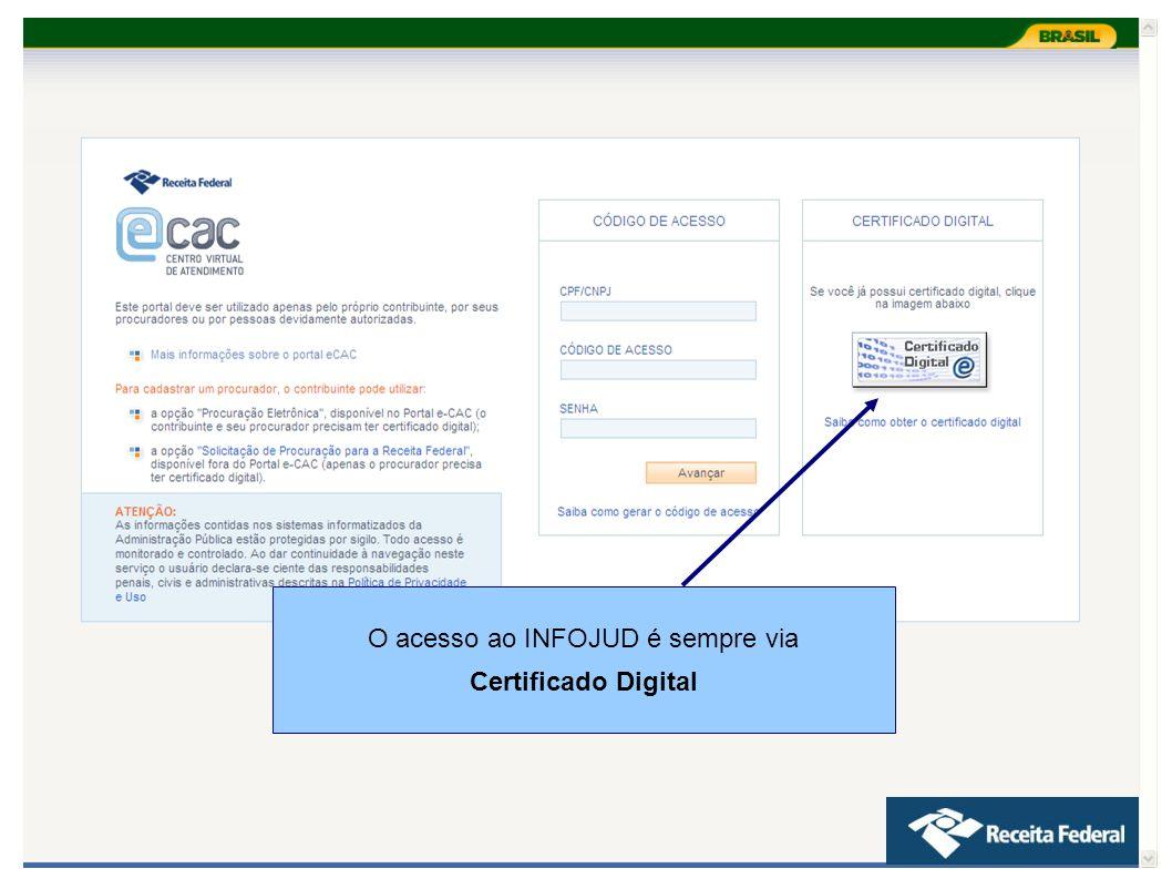 O acesso ao INFOJUD é sempre via Certificado Digital