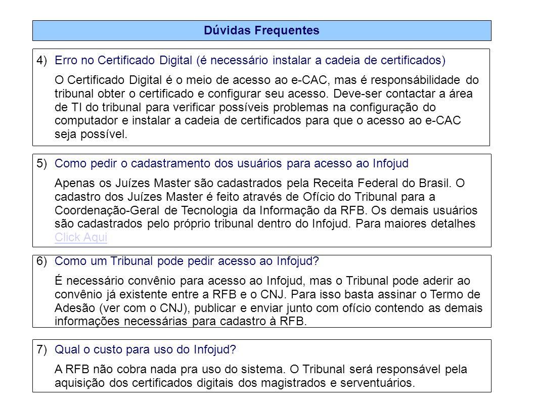 Dúvidas Frequentes 4)Erro no Certificado Digital (é necessário instalar a cadeia de certificados) O Certificado Digital é o meio de acesso ao e-CAC, m