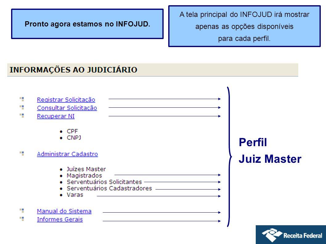 Outras funções disponíveis no Menu do Infojud Recuperar NI Nessa opção é possível consultar as informações cadastrais dos contribuintes Pessoa Física (CPF) Pessoa Jurídica (CNPJ) Menu do Infojud