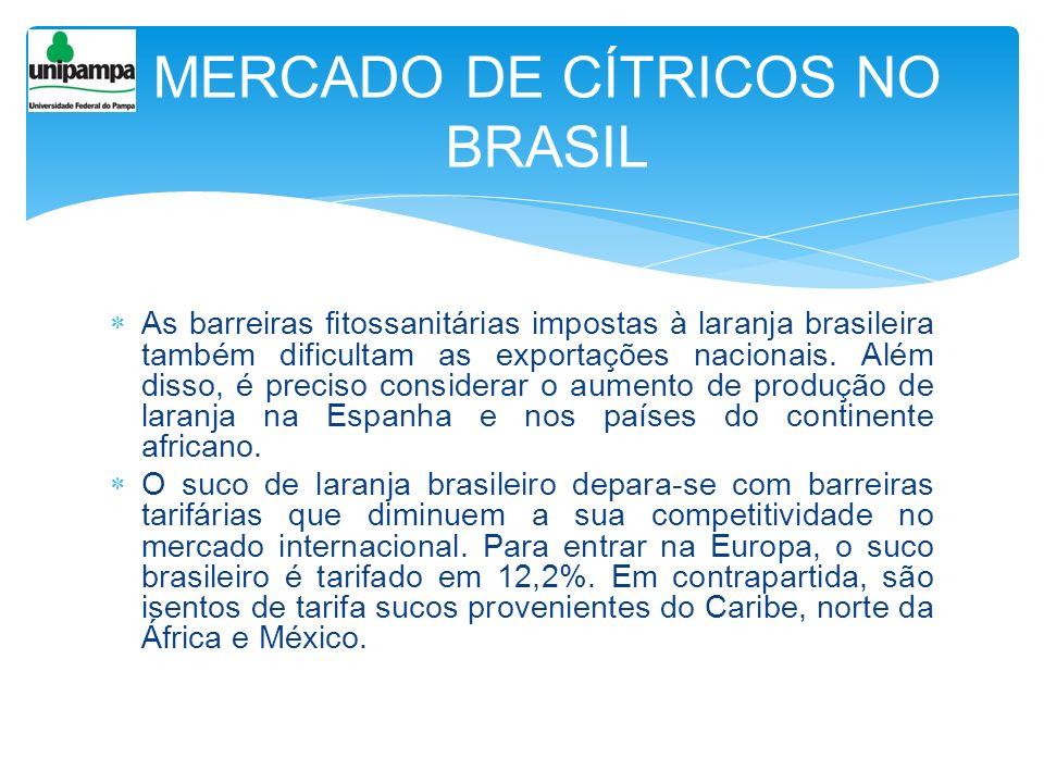 As barreiras fitossanitárias impostas à laranja brasileira também dificultam as exportações nacionais. Além disso, é preciso considerar o aumento de p