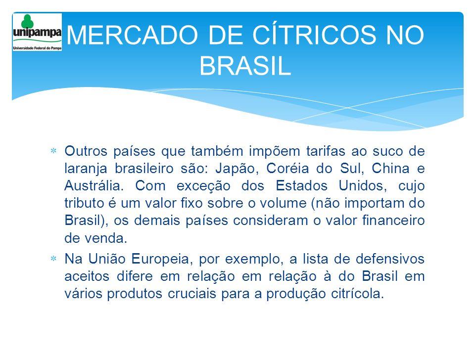 Outros países que também impõem tarifas ao suco de laranja brasileiro são: Japão, Coréia do Sul, China e Austrália. Com exceção dos Estados Unidos, cu