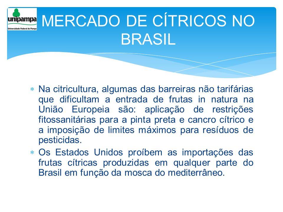 Na citricultura, algumas das barreiras não tarifárias que dificultam a entrada de frutas in natura na União Europeia são: aplicação de restrições fito