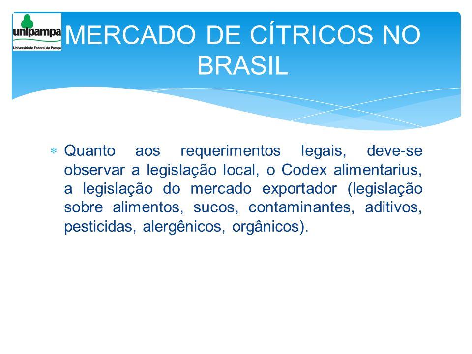 Quanto aos requerimentos legais, deve-se observar a legislação local, o Codex alimentarius, a legislação do mercado exportador (legislação sobre alime