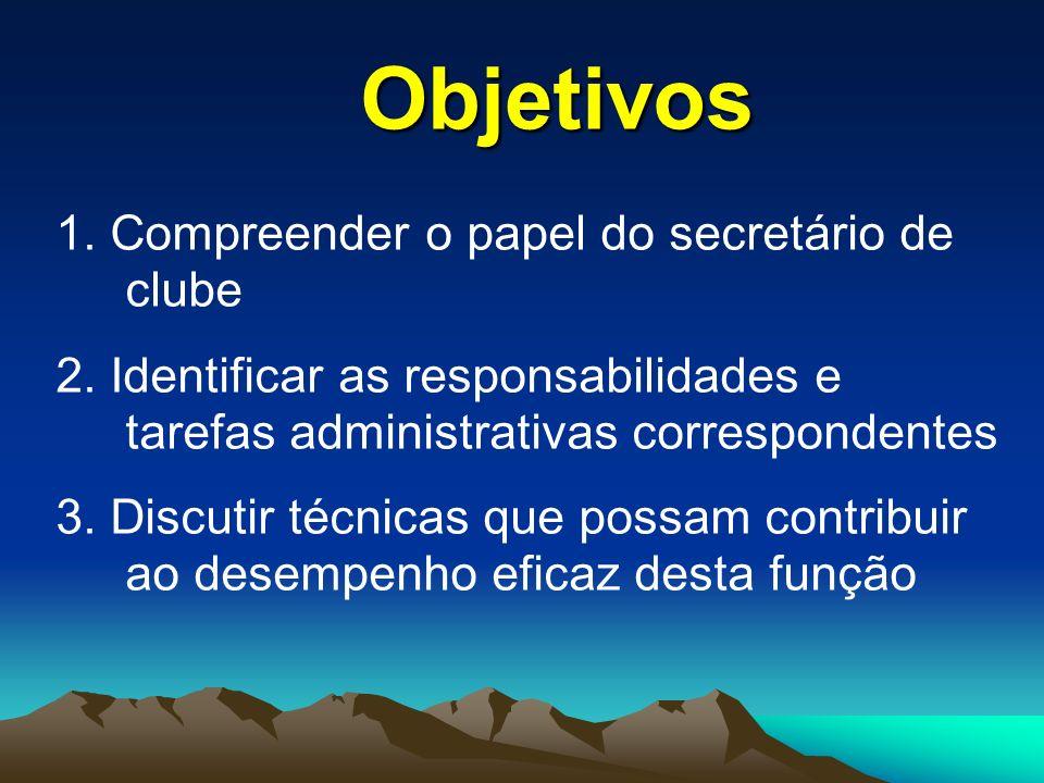 1.Compreender o papel do secretário de clube 2.