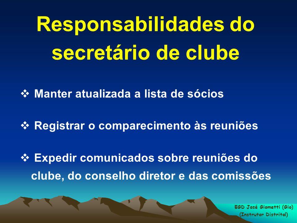 Responsabilidades do secretário de clube Manter atualizada a lista de sócios Registrar o comparecimento às reuniões Expedir comunicados sobre reuniões do clube, do conselho diretor e das comissões EGD José Giometti (Gio) (Instrutor Distrital)